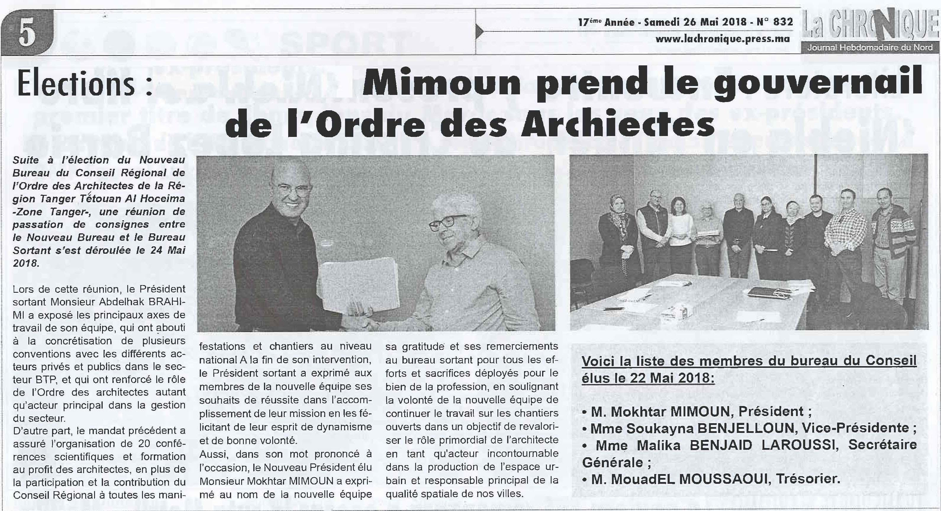 Liste Ordre Des Architectes publication, presse et événements – mokhtar mimoun